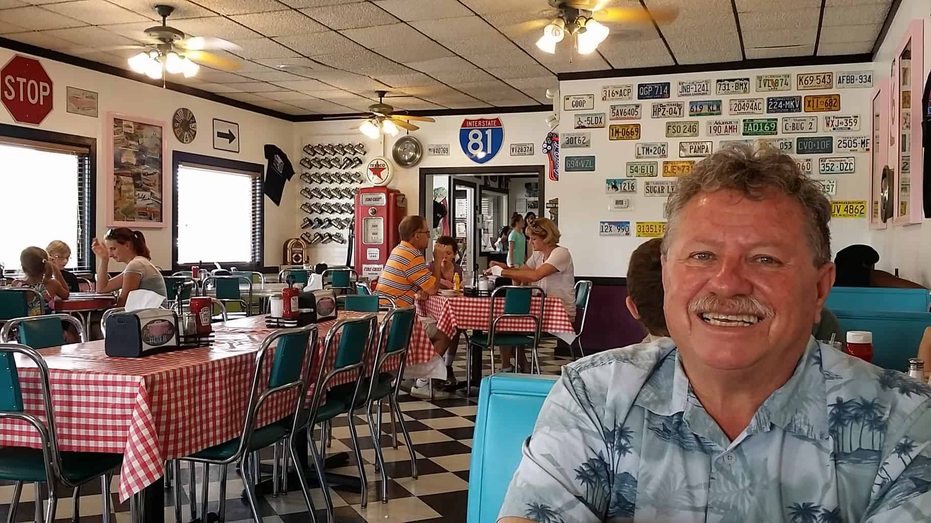 Natural Bridge, Virginia, The Pink Cadillac Restaurant, 1950's Classic diner with Elvis Presley motif. DiscoverCreateInspire.com Great for Family Trip