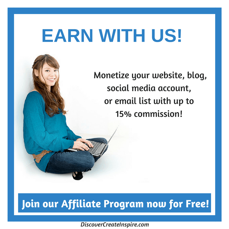 Monetize your website, blog, social media account, and email list Join Now for FREE DiscoverCreateInspire.com #affiliate #affiliatemarketing #affiliateprogram #monetize #blogging #blogger