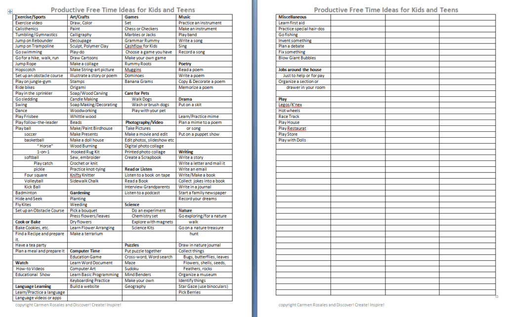 Productive Free time List of activities for teens and children