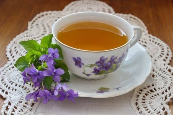 Violet blossoms and Leaves for heart healthy tea